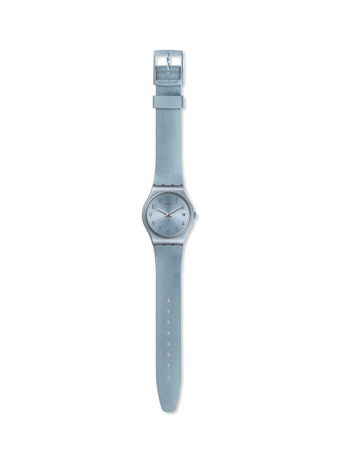 Swatch azulbaya fond bleu bracelet silicone bleu métallique 40mm