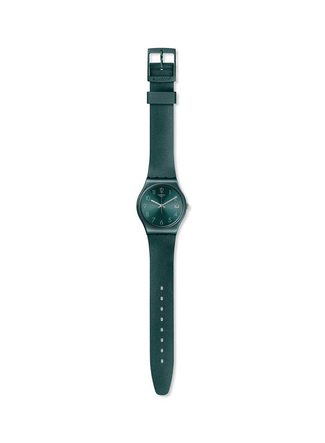 Swatch ashbaya fond vert bracelet silicone vert métallique 40mm