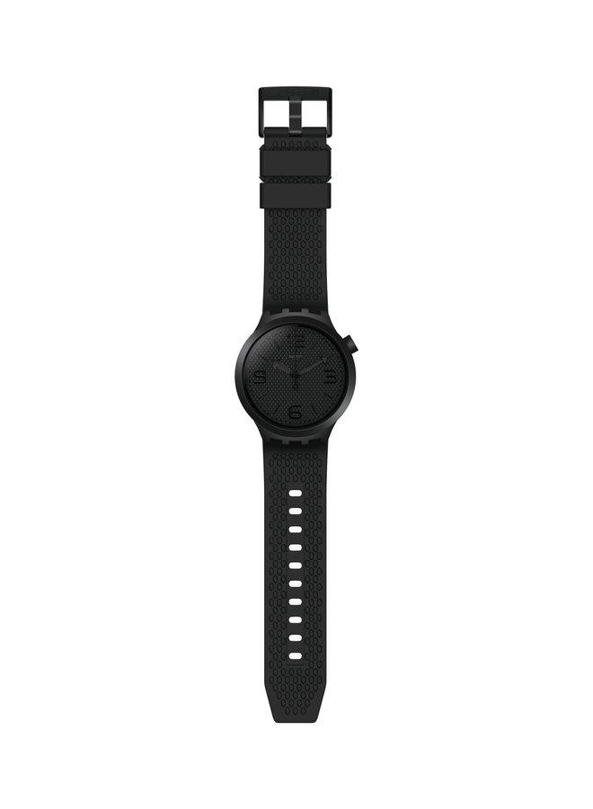 Swatch noir fond noir bracelet silicone noir 45mm