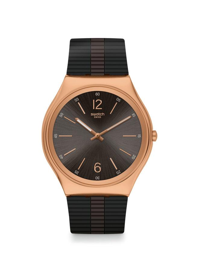 Swatch night acier rosé fond noir bracelet silicone noir 45mm