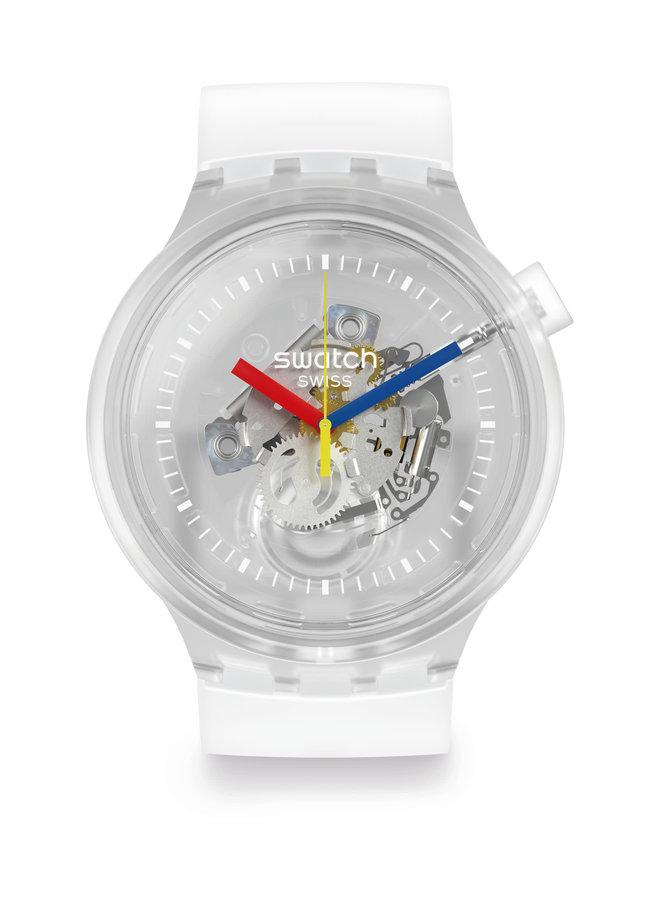 Swatch jellyfish fond blanc bracelet silicone blanc 45mm