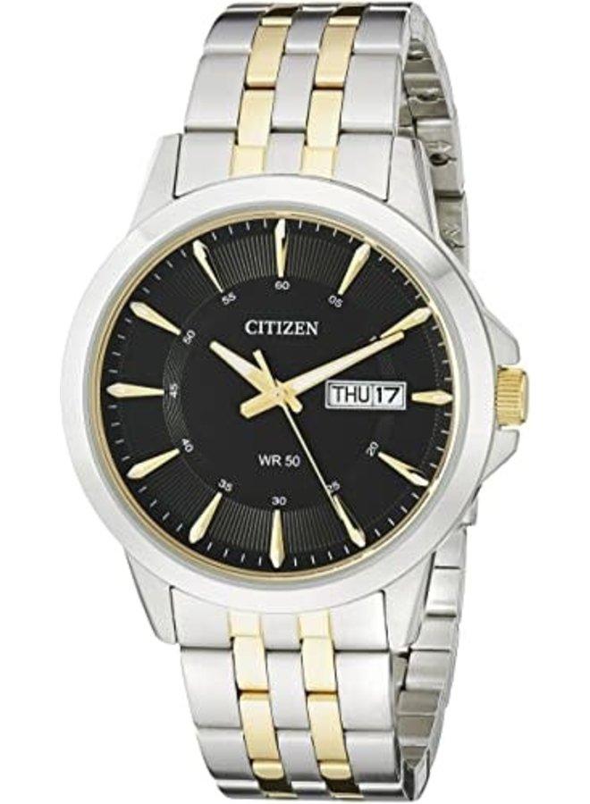 Citizen quartz homme acier 2 tons doré fond noir 41mm