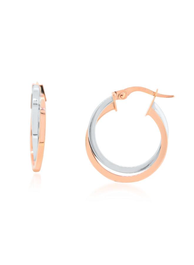 Boucle d'oreille anneau 10k 2 tons blanc et rose uni 18mm