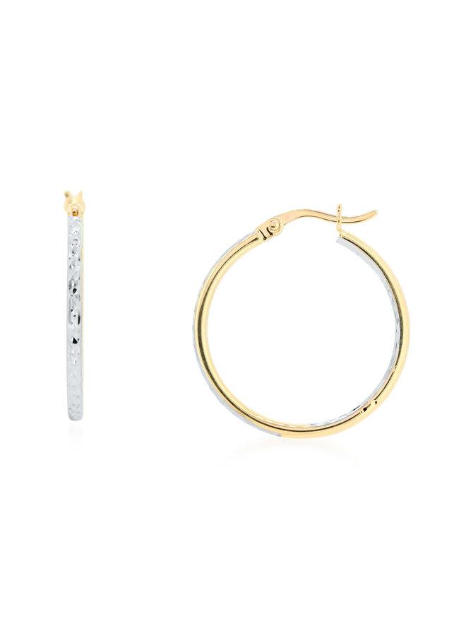 Boucle d'oreille anneau 10k 2 tons coupe diamanté 22mm