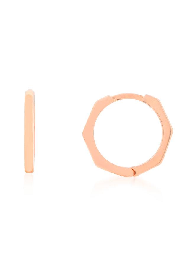 Boucle d'oreille anneau 10k rose hexagone