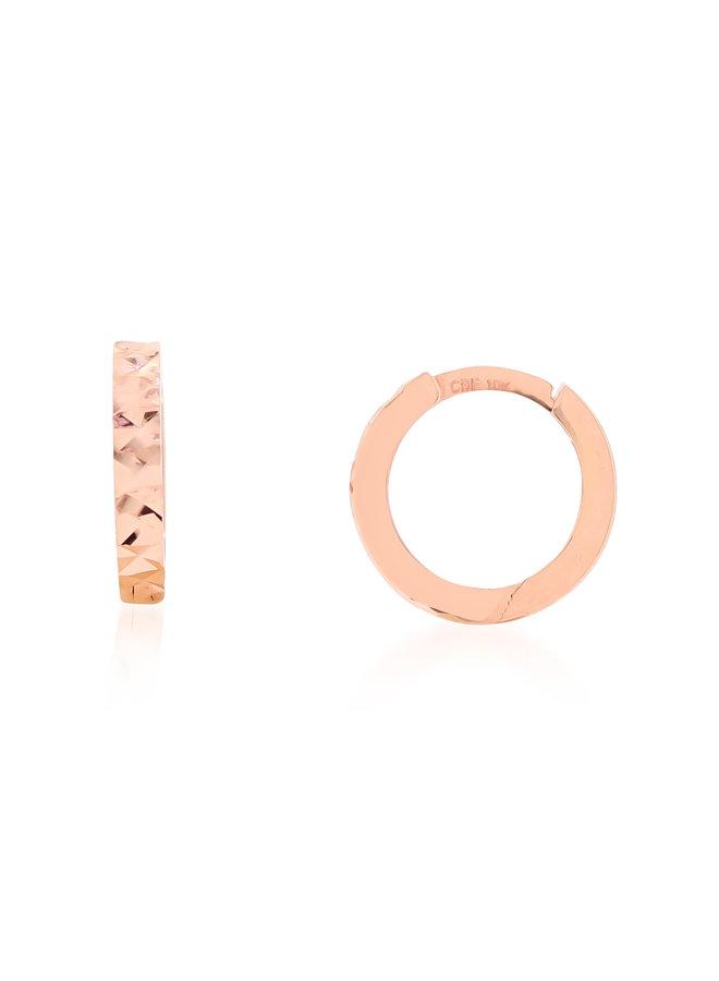 Boucle d'oreille huggies 10k rose coupe diamant 11mm