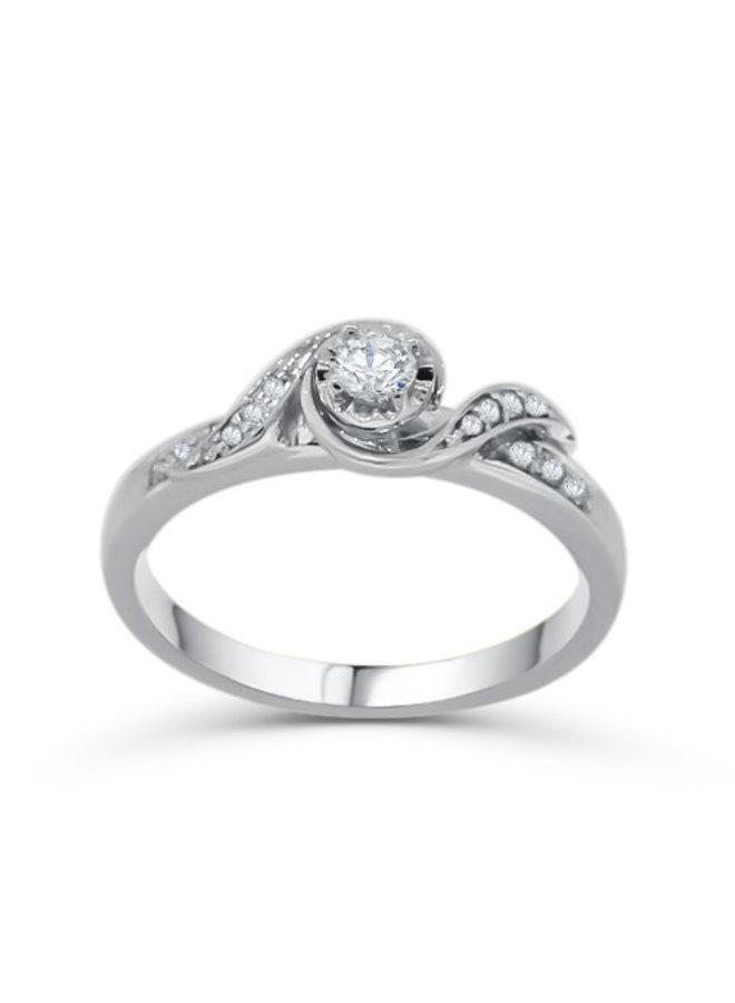 Bague à diamants 10k or blanc