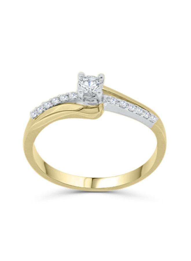 Bague à diamants 2 tons en 10k