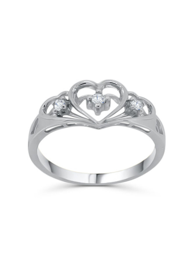 Bague 10k blanc diamant forme de coeur