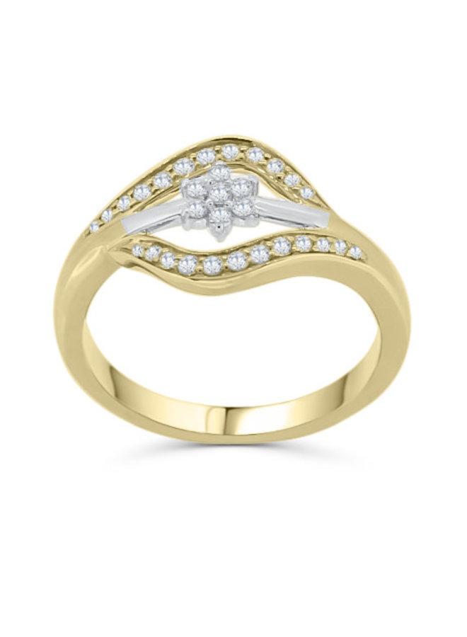 Bague 10k à diamants 2 tons