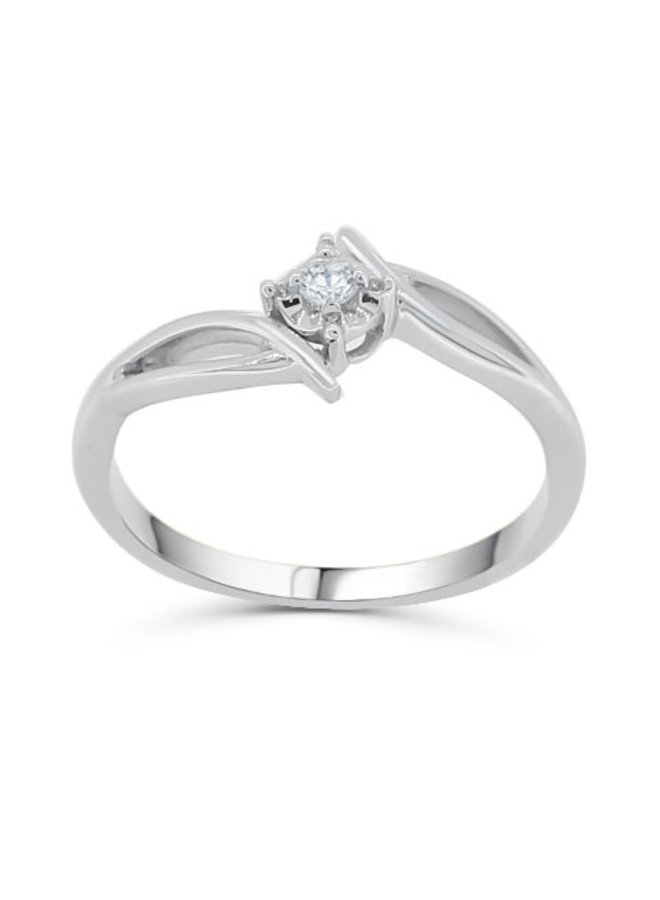 Bague solitaire 10k or blanc