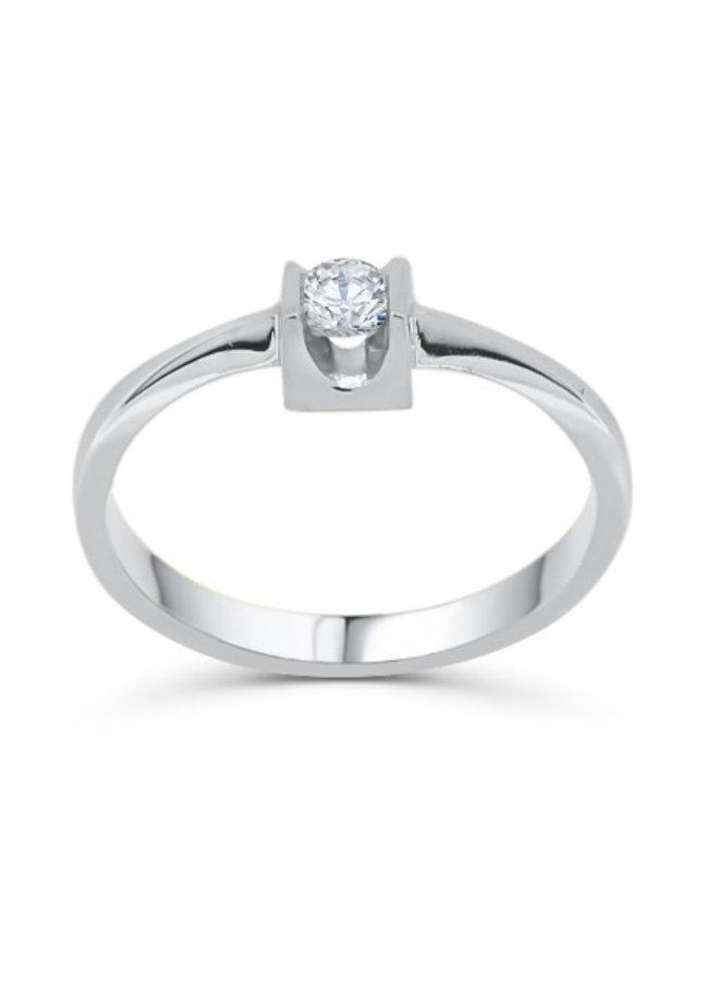 Bague solitaire à diamant 10k blanc