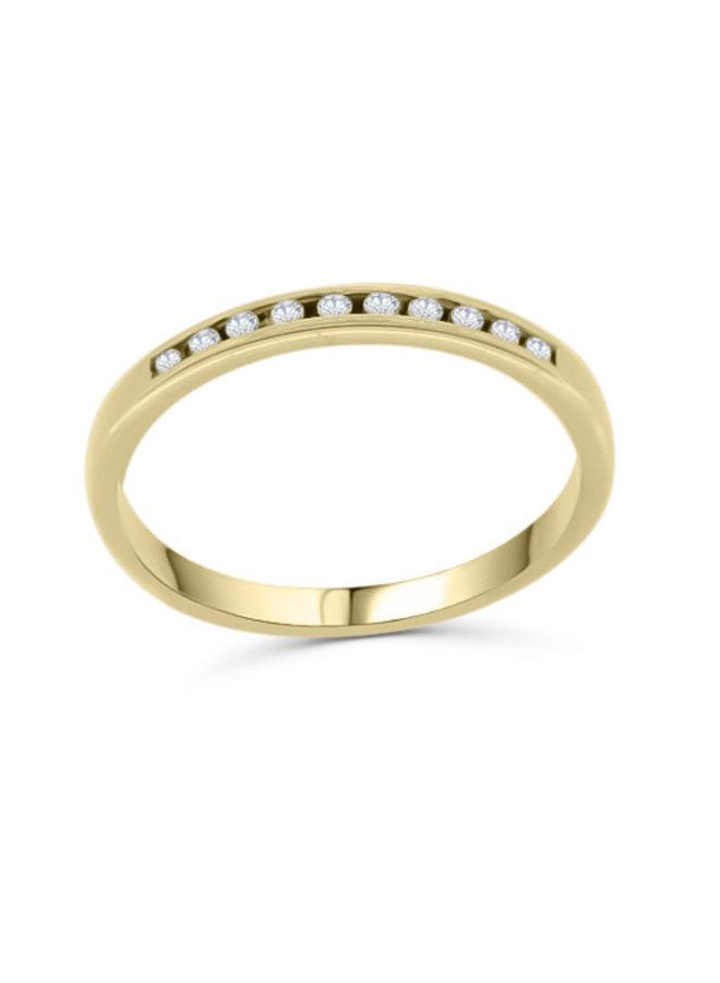 Bague semi-éternité à diamants 10k or jaune