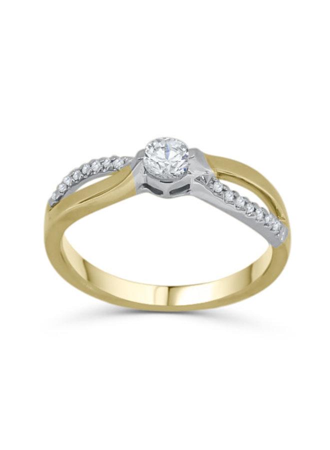 Bague semi-éternité à diamants 10k 2 tons
