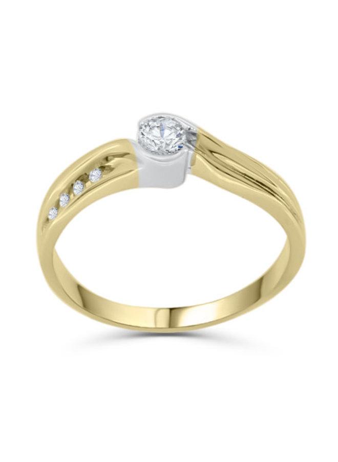 Bague solitaire 14k à diamants
