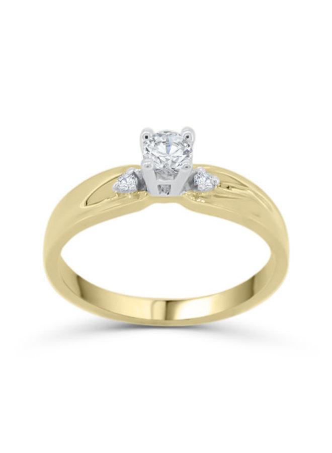 Bague solitaire à diamant 10k jaune