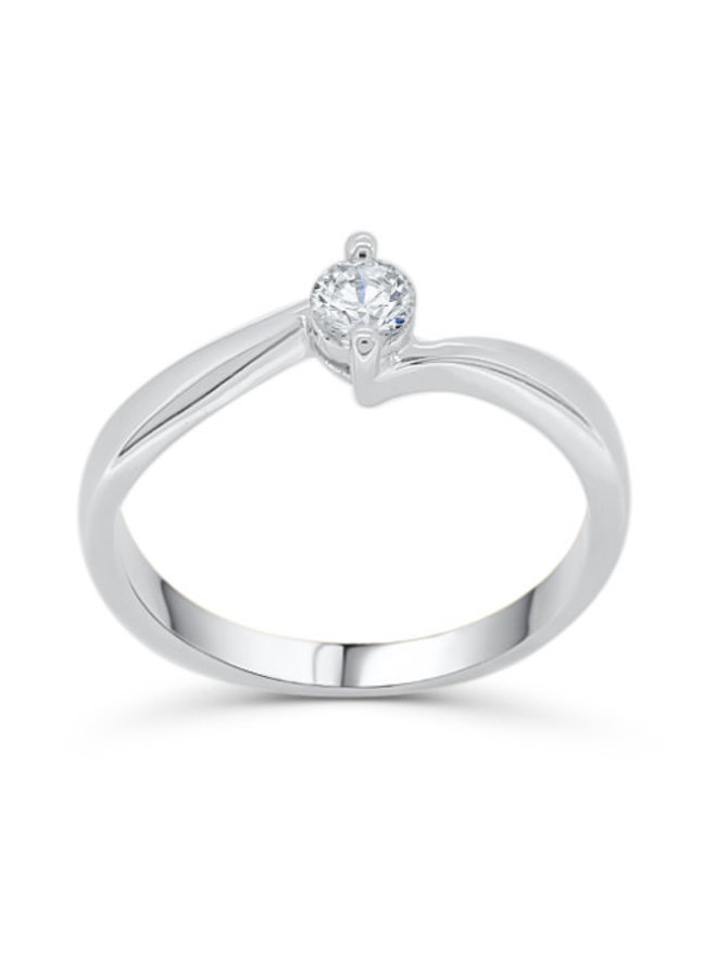 Bague solitaire à diamant or blanc 14k