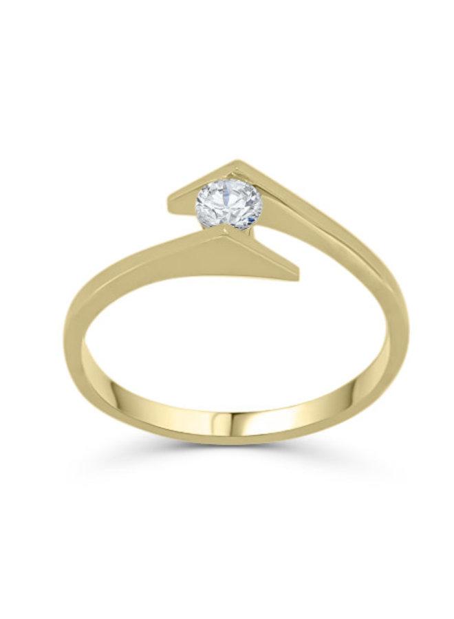 Bague à diamant or jaune 10k