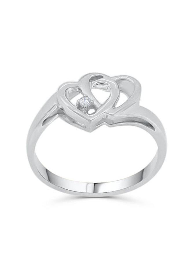 Bague 10k blanc diamant coeur 1X0.02CT I GH