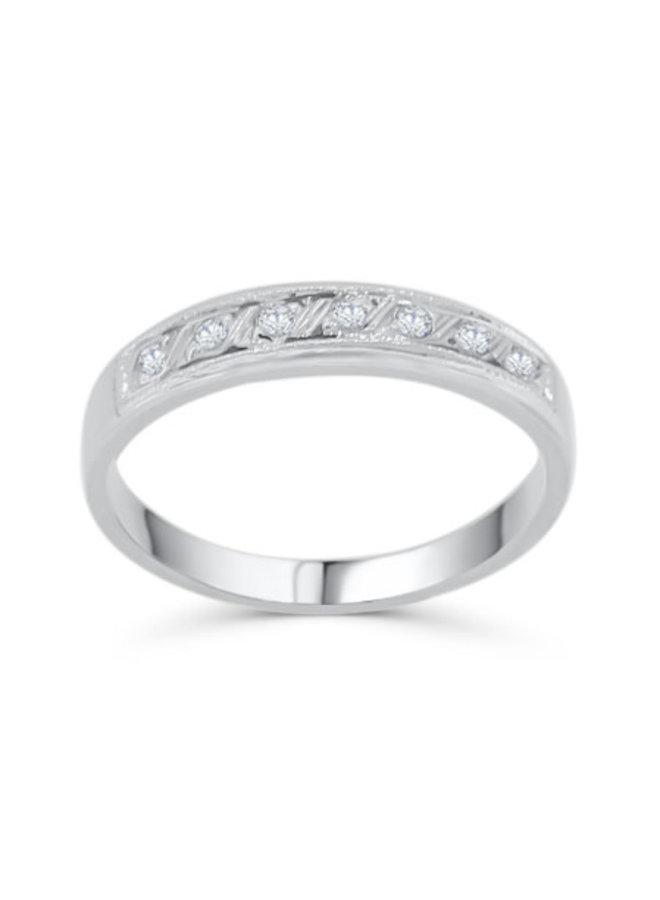 Semi-éternité 10k blanc diamant 7=0.10CT I GH