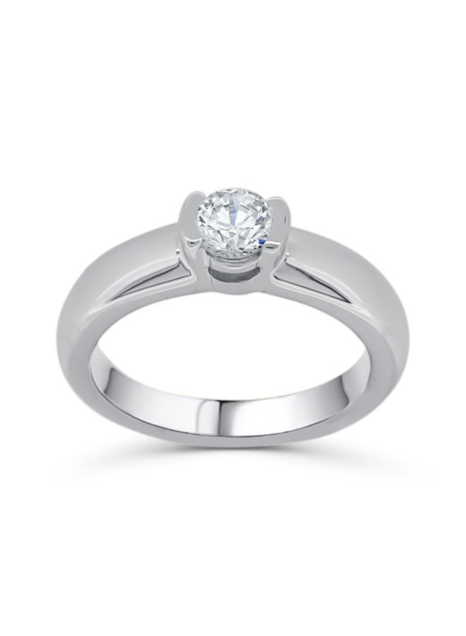 Bague solitaire or blanc 10k diamant