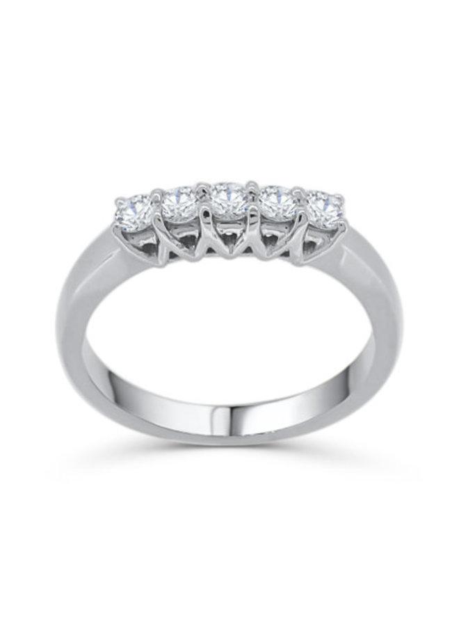 Bague semi-éternité or blanc 14k à diamants