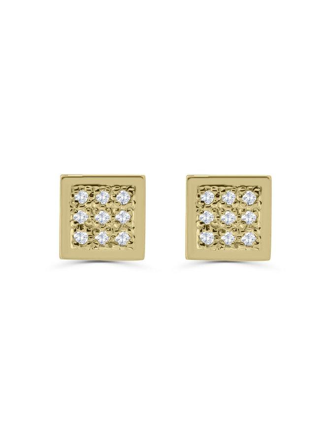Boucles d'oreilles à diamants or jaune 10k
