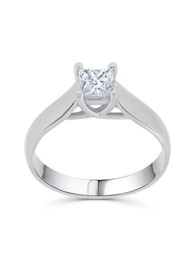 Bague solitaire à diamant or blanc 10k