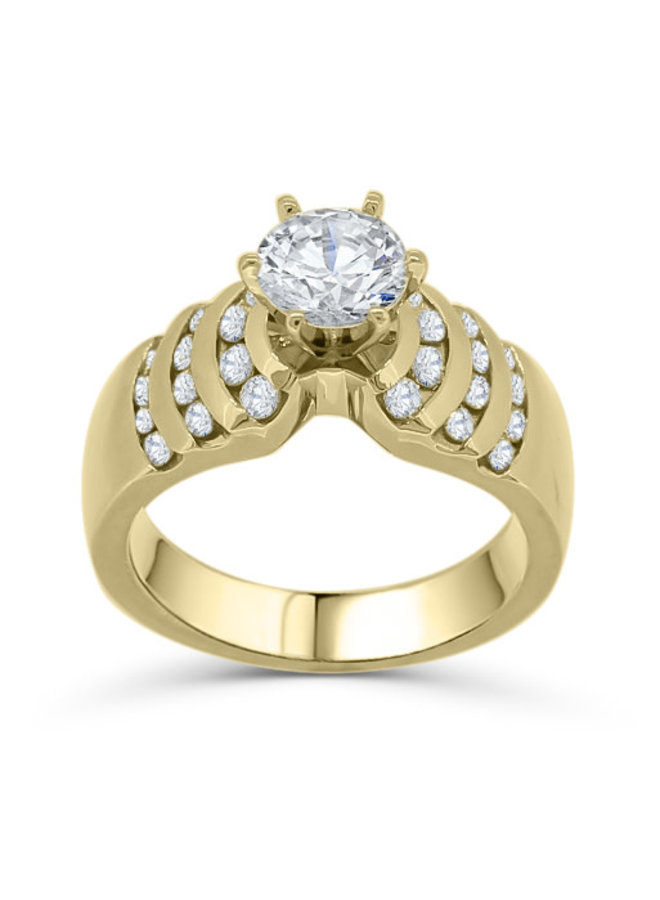 Bague 14k or jaune solitaire moissanite et diamants
