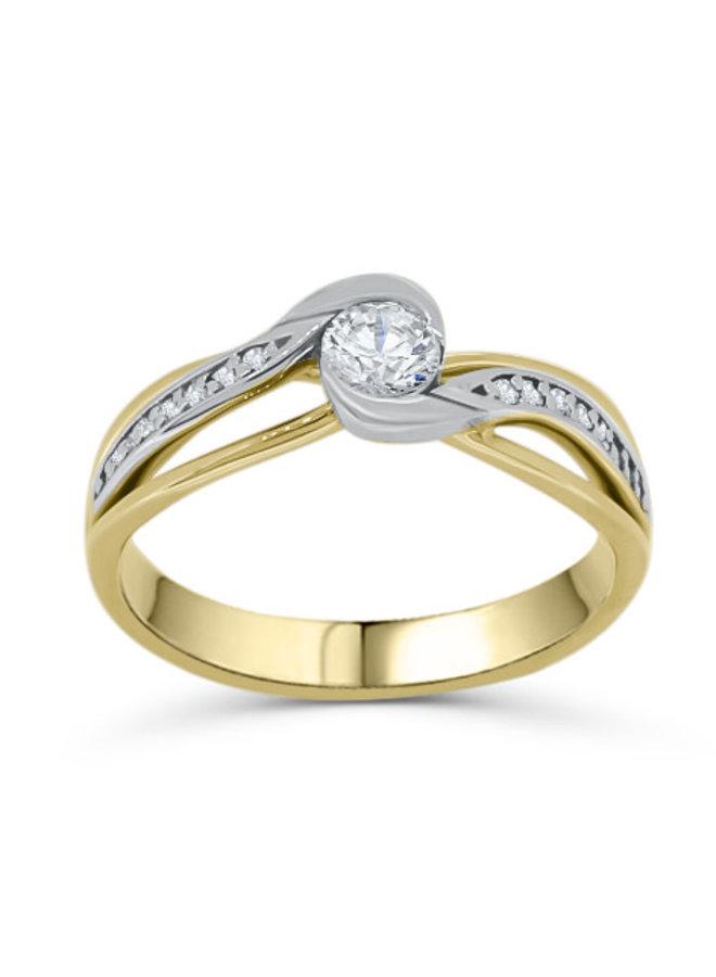 Bague solitaire à diamants or blanc 10k