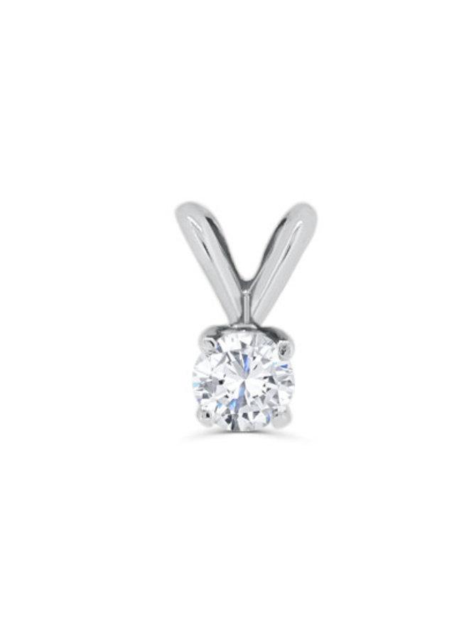 Pendentif à diamant or blanc 14k