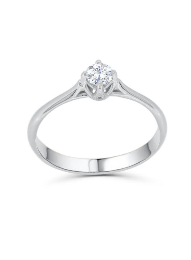 Bague solitaire à diamant platine