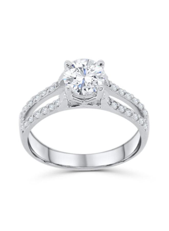 Bague solitaire platine diamant 28x0.0075 et 1x0.97ct SI GH