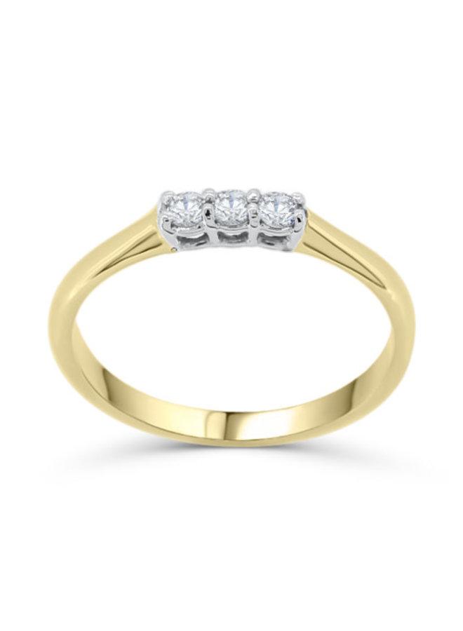 Trinité à diamants or jaune 10k