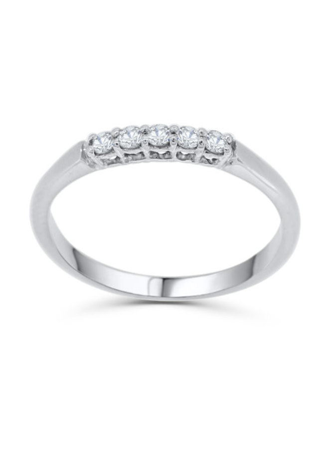 Jonc semi-éternité à diamants or blanc 10k