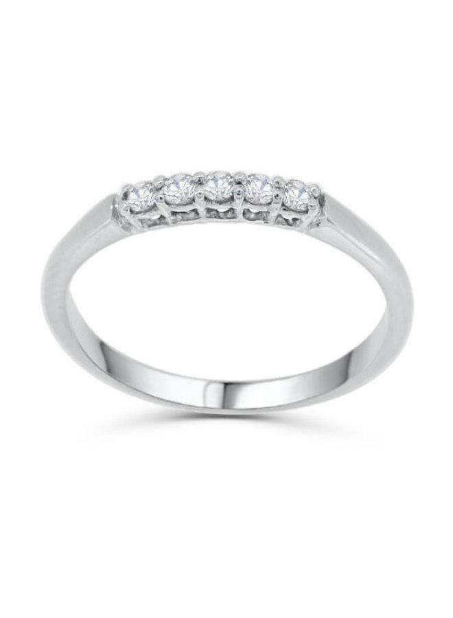 Jonc semi-éternité à diamants or blanc10k