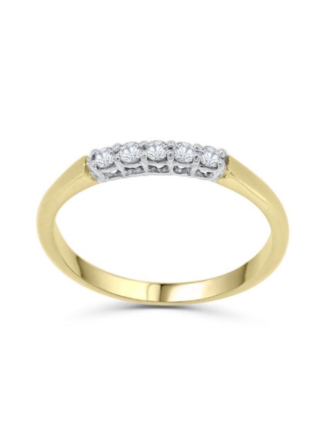 Jonc semi-éternité à diamants 2 tons 10k