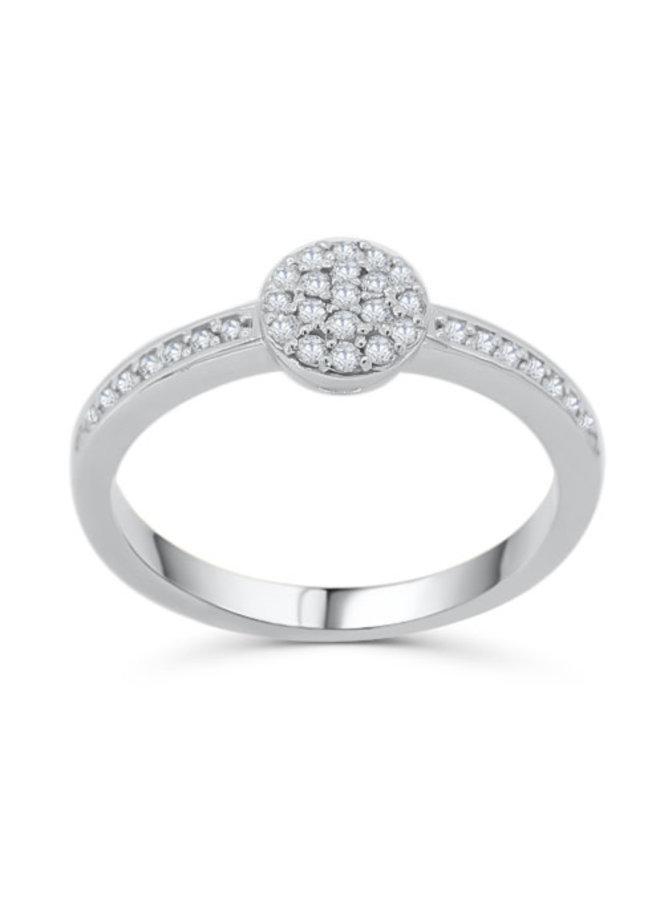 Bague à diamants or blanc 14k