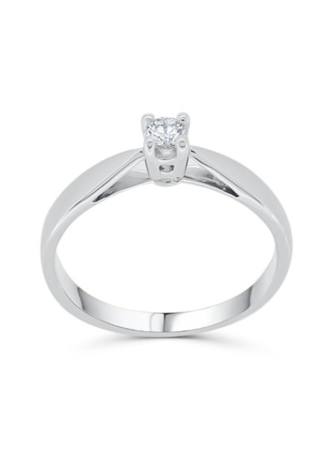 Bague solitaire or blanc 10k