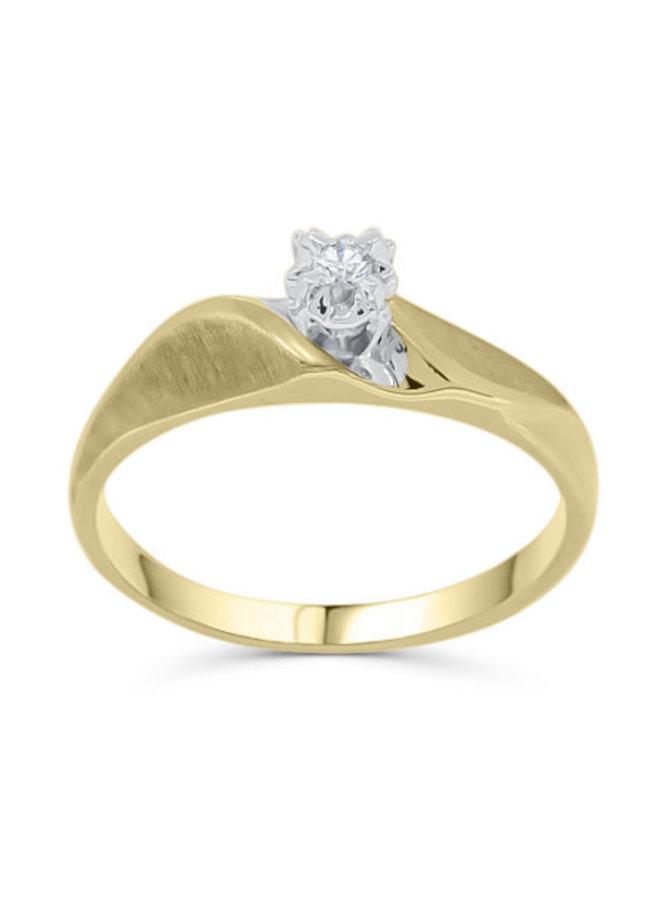 Solitaire à diamant or jaune 10k