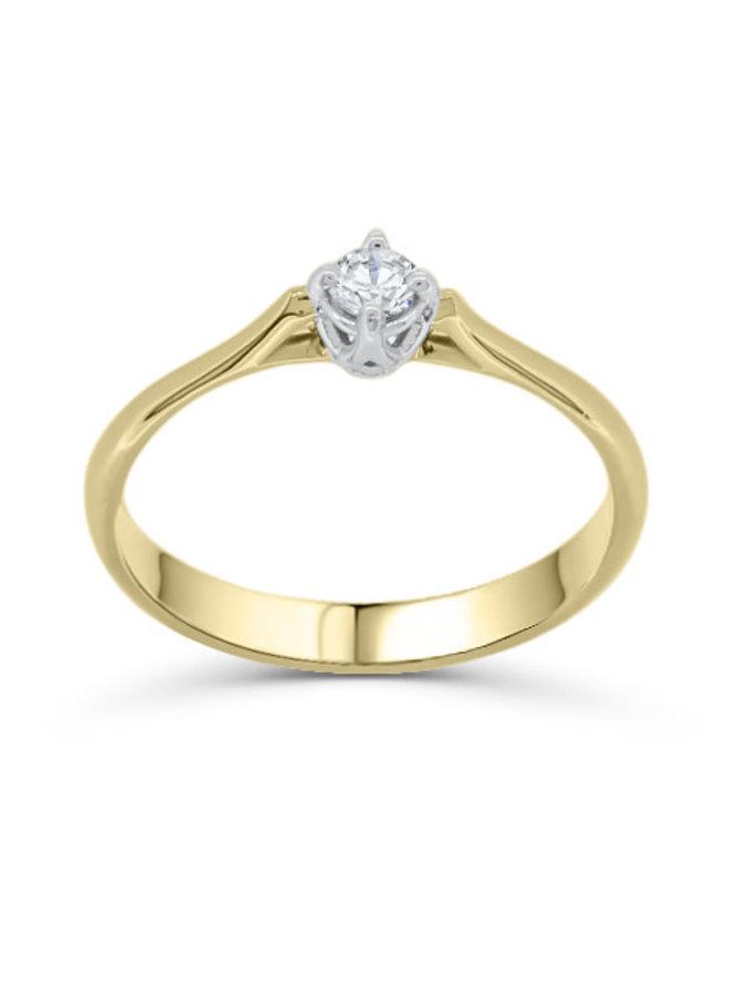 Bague solitaire à diamant 2 tons 10k