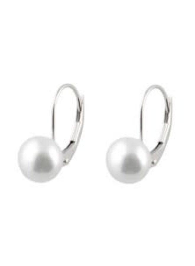 Boucle d'oreille 14k blanc perle eau douce 7mm
