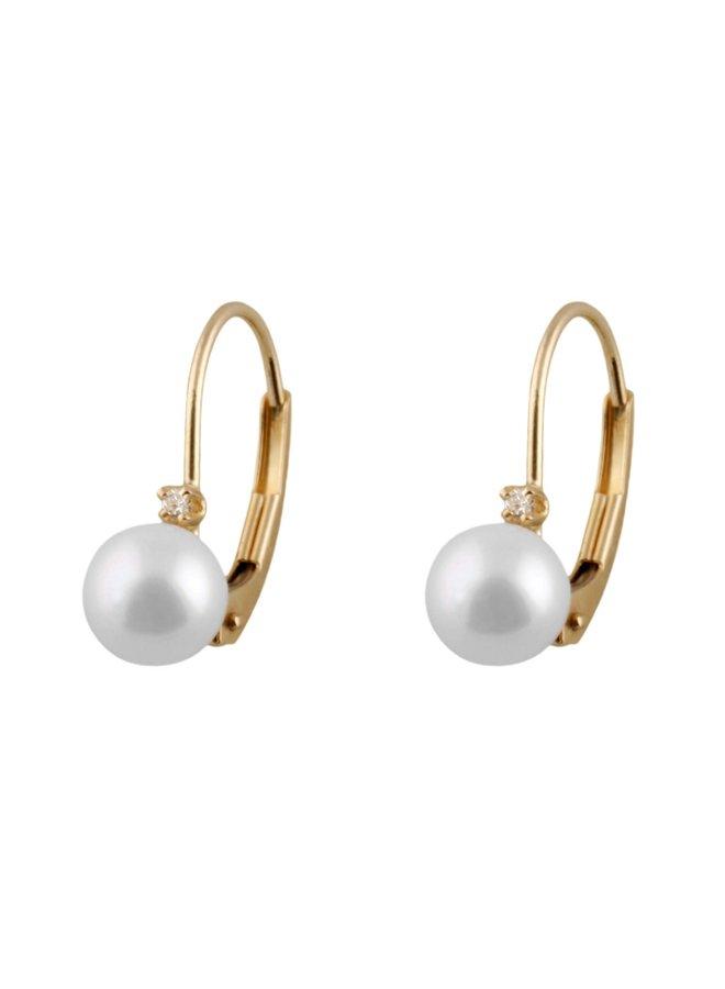 Boucles d'oreilles de perle d'eau salée et diamants