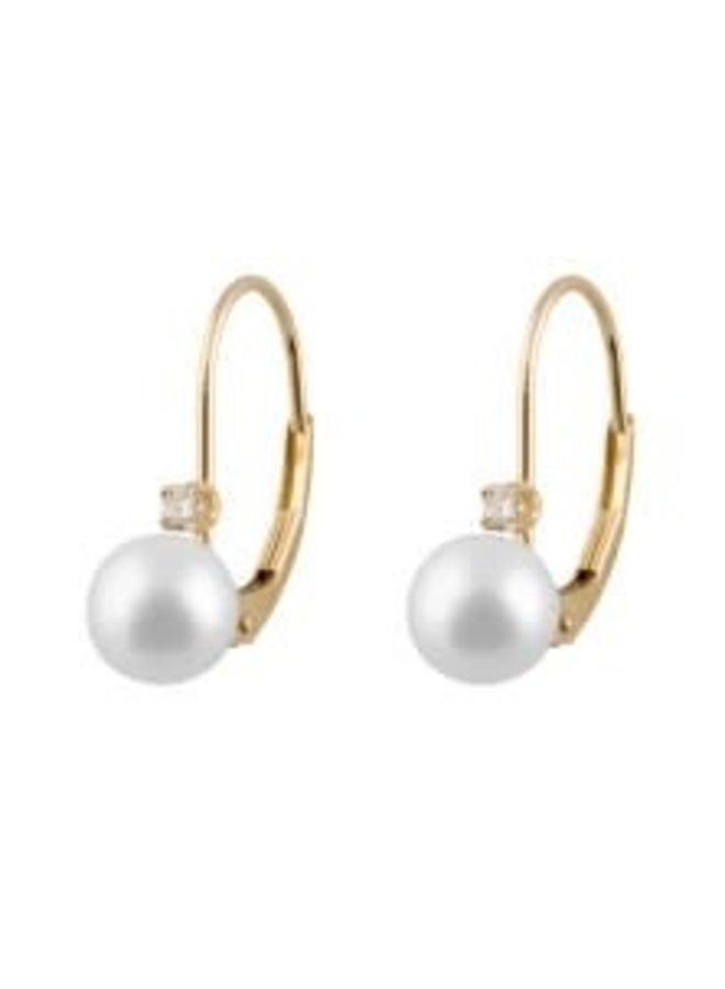 Boucles d'oreilles de perle d'eau salée et diamants 6 mm