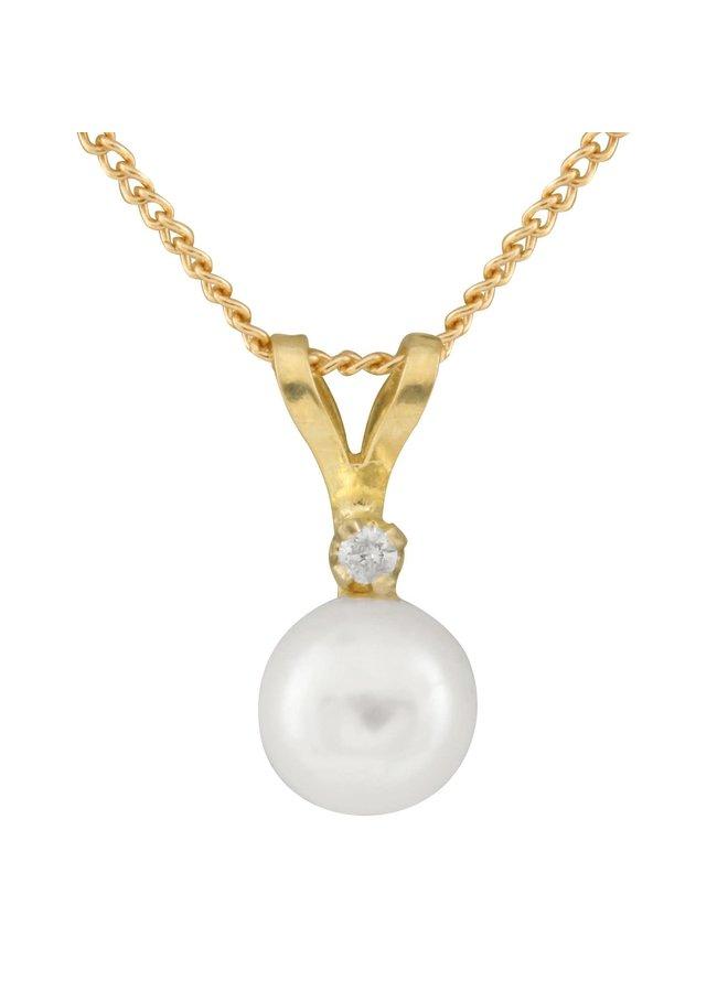Pendentif 14k jaune perle eau salée 5mm diamant 0.01ct chaine incluse 17''