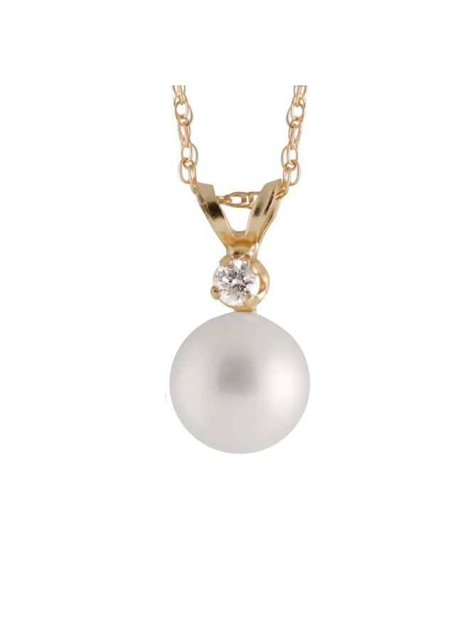 Pendentif 14k jaine perle eau salée 7mm diamant 0.05ct chaine incluse 17''