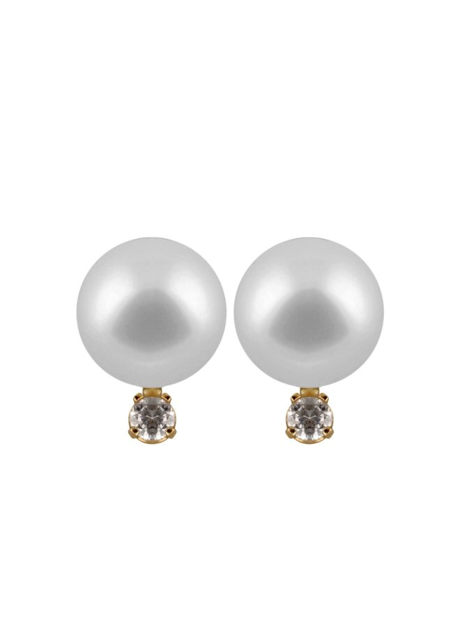 Boucles d'oreilles de perle d'eau douce 6 mm avec zircons