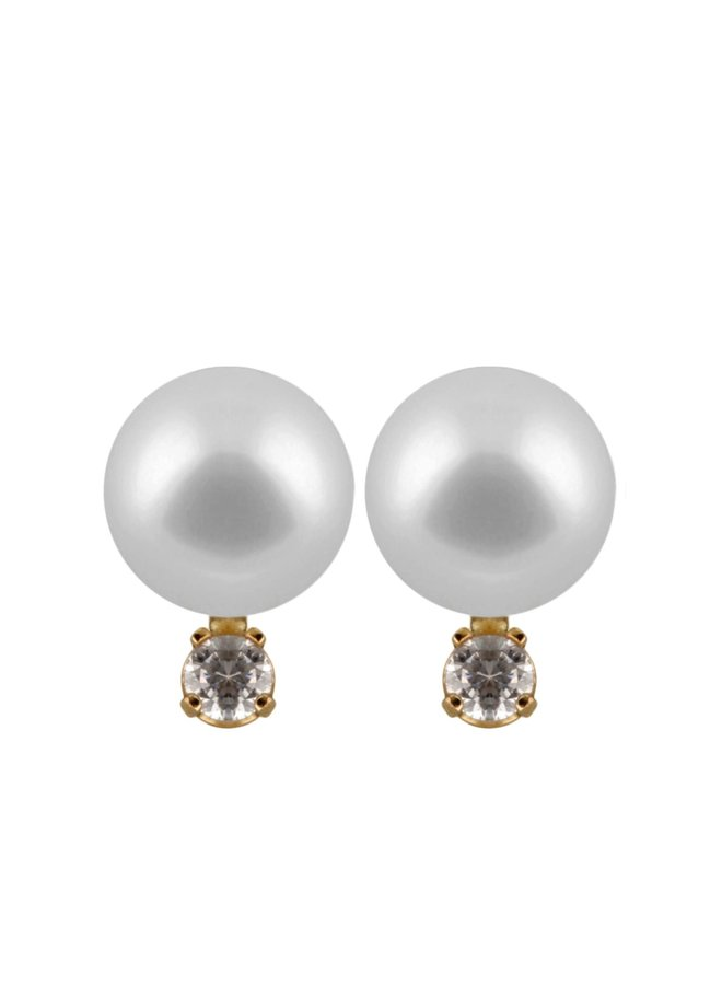 Boucles d'oreilles de perle d'eau douce 7 mm avec zircons
