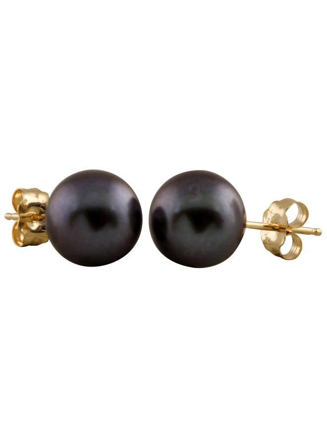 Boucles d'oreilles de perle d'eau douce ronde 8 mm noir
