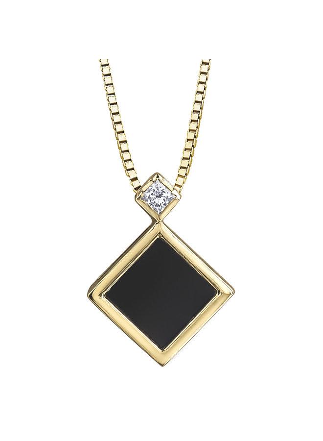 Ensemble 10k jaune onyx 6X6 mm diamant=0.046ct SI2 GH chaine incluse